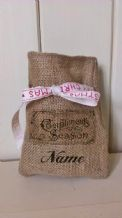 Personalized Compliments Of The Season Small Father Christmas Xmas Santa Sack / Stocking Bag Jute Hessian